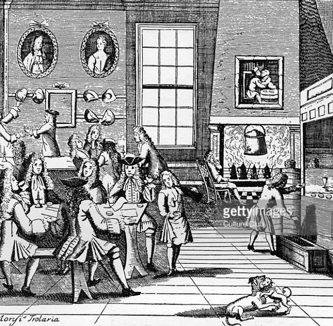18th century Coffee House. Engraving.